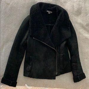 Vince shearling jacket suede black xs